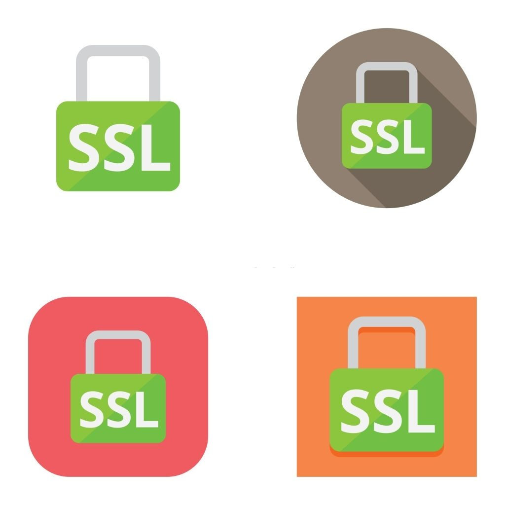Simple, vector SSL padlock icons over different backgrounds