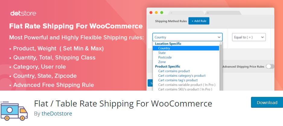 Flat / Table Rate Shipping For WooCommerce