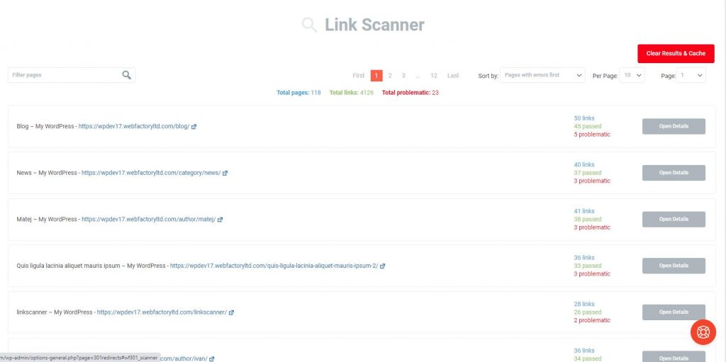WP 302 Redirects link scanner pages